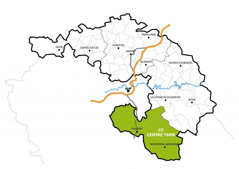 La communauté de communes Centre Tarn dans le Pôle Territorial de l'Albigeois et des Bastides