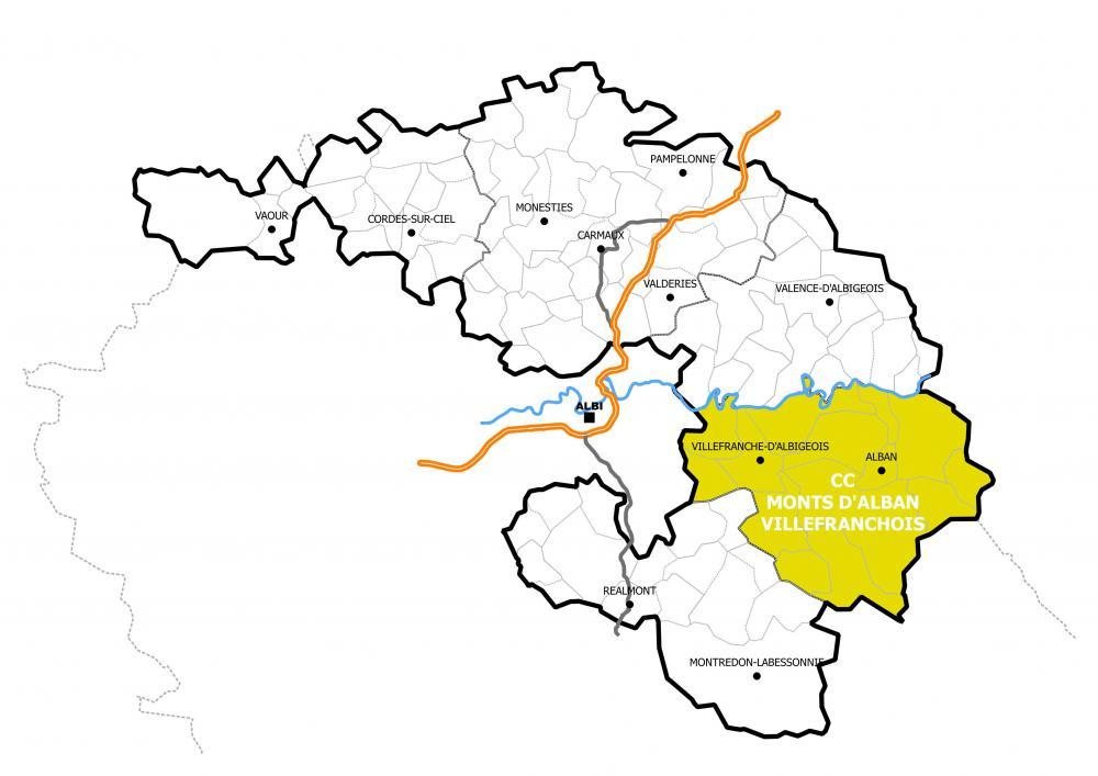 Le périmètre de la Communauté de Communes des Monts d'Alban et du Villefranchois