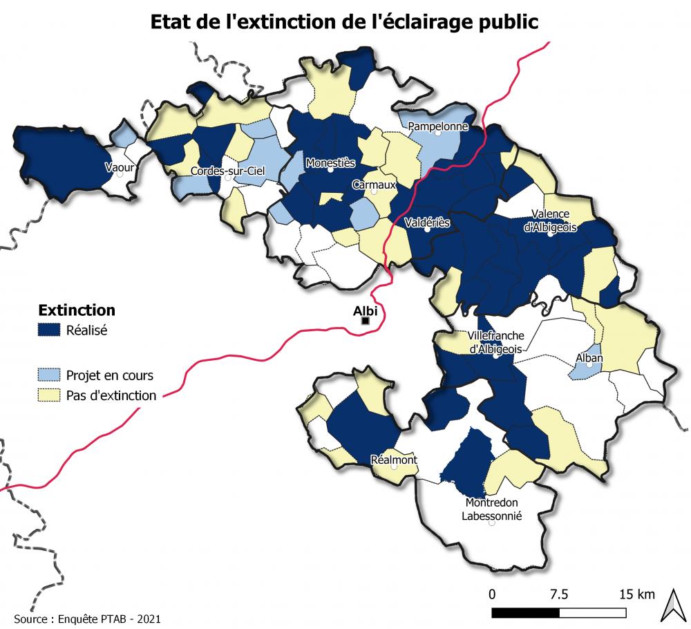 Carte des communes qui éteignent la Nuit