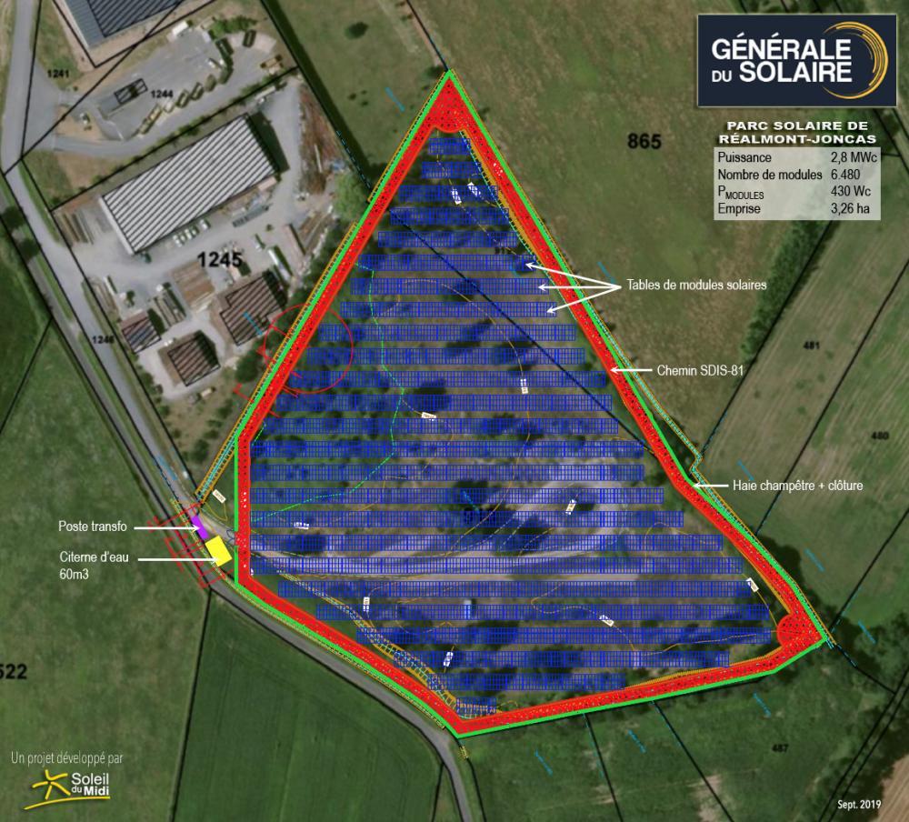 Intiative 2 : Photomontage du parc solaire de réalmont Joncas