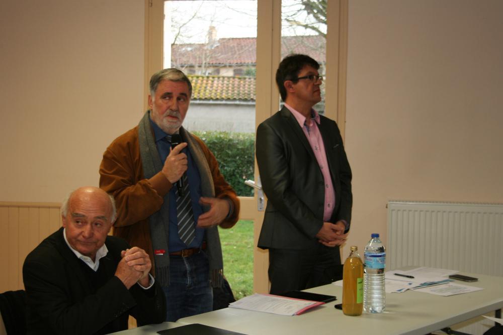 Didier Somen, président du Pôle Territorial entouré d'André Cabot et Sylvain Cals