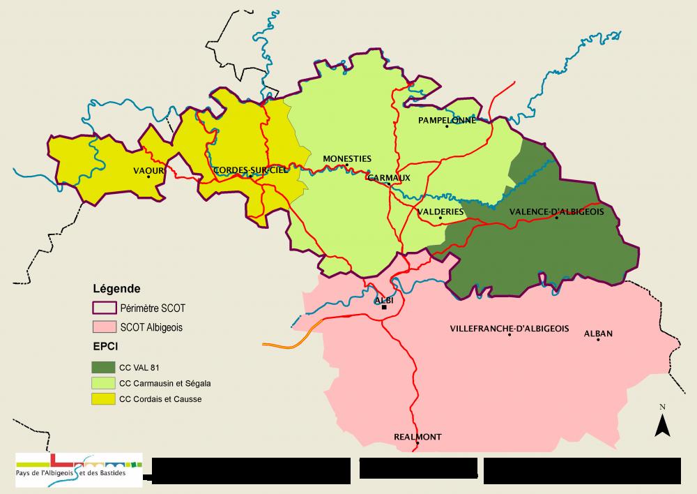 Le périmètre du SCoT du Carmausin, Ségala, Causse et Cordais