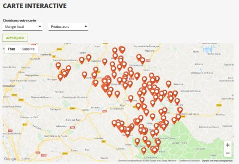 Carte interactive producteurs Albigeois bastides